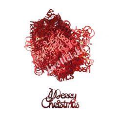 Karácsonyi flitter, piros, Merry Christmas felirat, kb. 5 gr/csomag