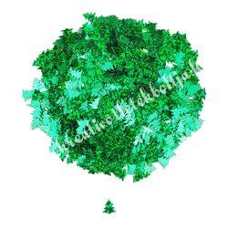 Karácsonyi flitter, zöld fenyő, glitteres, kb. 15 gr/csomag, 0,7 cm