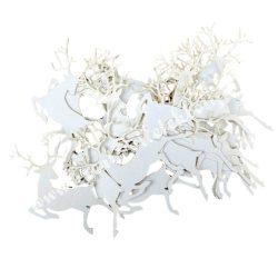 Karácsonyi konfetti, papír szarvas, fehér,  20 db/csomag