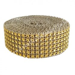 Strasszos szalag, arany (014) 3 cm