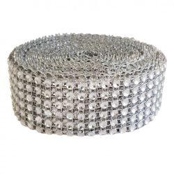 Strasszos szalag, ezüst (102) 3 cm