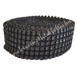 Strasszos szalag fekete (046) 3 cm