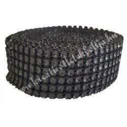 Strasszos szalag, fekete (046) 3 cm