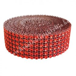 Strasszos szalag, piros (001) 3 cm