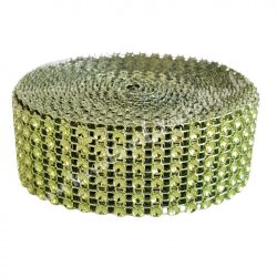 Strasszos szalag, zöld (048) 3 cm