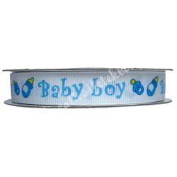 Babaváró szalag,fehér-kék,16 mm, ripsz, 1 méter