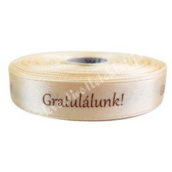 Szalag, vanília, Gratulálunk!, 1,5 cm