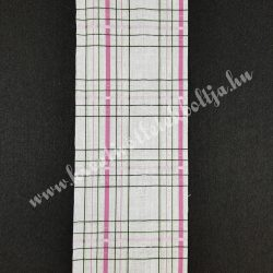 Szalag, kockás 7., pink-zöld-fekete-fehér, 100 mm