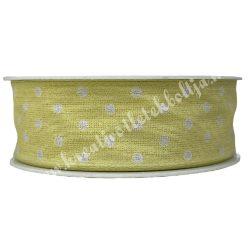 Szalag, pöttyös 1., citromsárga, 25 mm