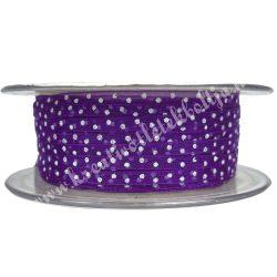 Szalag, pöttyös 3., lila, 3 mm