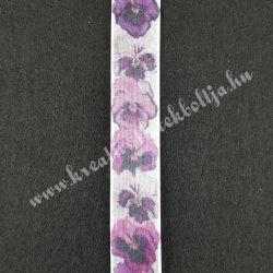 Szalag, virágos 1., lila, 25 mm