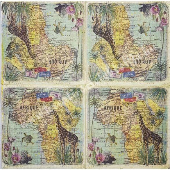 Szalvéta, országok, Afrika, 33x33 cm (27)