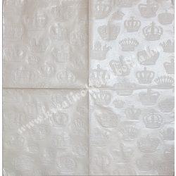 Szalvéta, csipke mintás, fehér, koronás, 32x32 cm, 1 darab