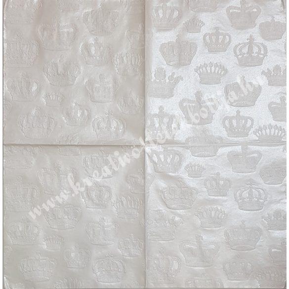 Szalvéta, csipke mintás, fehér, koronás, 33x33 cm (14)