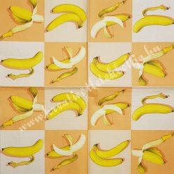 Szalvéta, déligyümölcs, banán, 32x32 cm, 1 darab