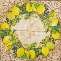 Szalvéta, déli gyümölcsök, citrom, 32x32 cm, 1 darab