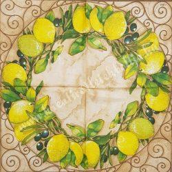 Szalvéta, déligyümölcs, citrom, 33x33 cm (1)