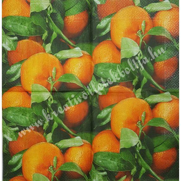 Szalvéta, déligyümölcs, narancs, 33x33 cm (4)