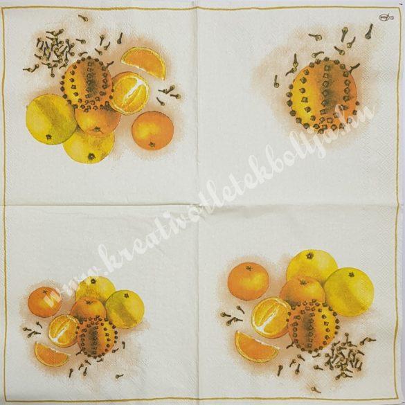 Szalvéta, déligyümölcs, narancs, 33x33 cm (6)