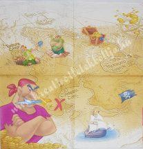 Szalvéta, Disney-mintás, kalózos, 32x32 cm, 1 darab
