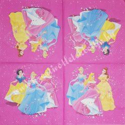 Szalvéta, Disney-mintás 20., Hercegnők, 33x33 cm