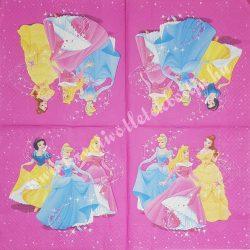 Szalvéta, Disney-mintás, Hercegnők, 33x33 cm (20)