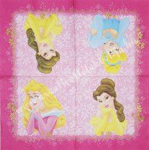 Szalvéta, Disney-mintás, hercegnős, 32x32 cm, 1 darab