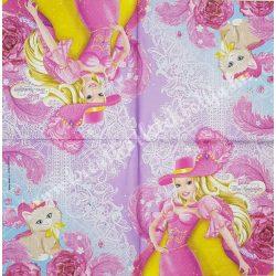 Szalvéta, Disney-mintás 3., Barbie The tree Musketeers, 33x33 cm