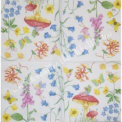 Szalvéta, Disney-mintás 30., Tündérek, gomgák, virágok, 33x33 cm