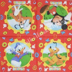 Szalvéta, Disney-mintás 36., Mickey Egér játszótere, 33x33 cm