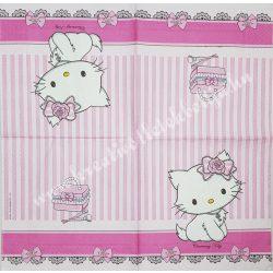 Szalvéta, Disney-mintás 5., Hello Kitty, 33x33 cm