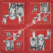 Szalvéta, erdei állatok, jávorszarvas, 32x32 cm, 1 darab