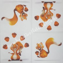Szalvéta, erdei állatok, mókus, 32x32 cm (2)