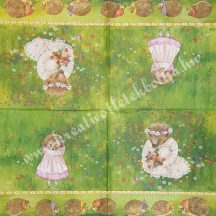 Szalvéta, erdei állatok, süni, 32x32 cm, 1 darab