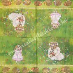 Szalvéta, erdei állatok, süni, 32x32 cm (4)