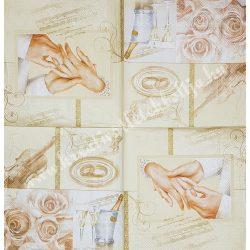 Szalvéta, esküvő 1., 33x33 cm