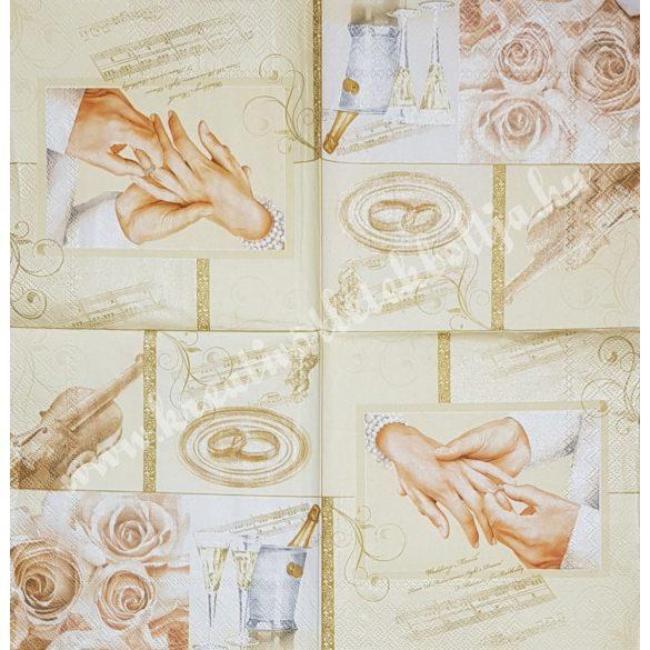 Szalvéta, esküvő, 33x33 cm (1)