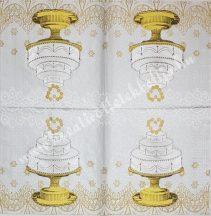 Szalvéta, esküvő, torta, 32x32 cm, 1 darab
