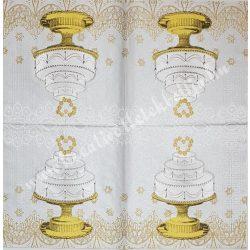 Szalvéta, esküvő 13., torta, 33x33 cm