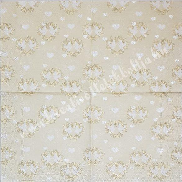 Szalvéta, esküvő, galambok, 33x33 cm (17)