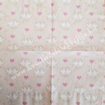Szalvéta, esküvő, galambok, 32x32 cm, 1 darab