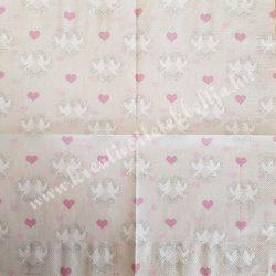 Szalvéta, esküvő 18., galambok, 33x33 cm