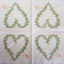 Szalvéta, esküvő, szív, 32x32 cm, 1 darab