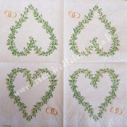 Szalvéta, esküvő 19., szív, 33x33 cm