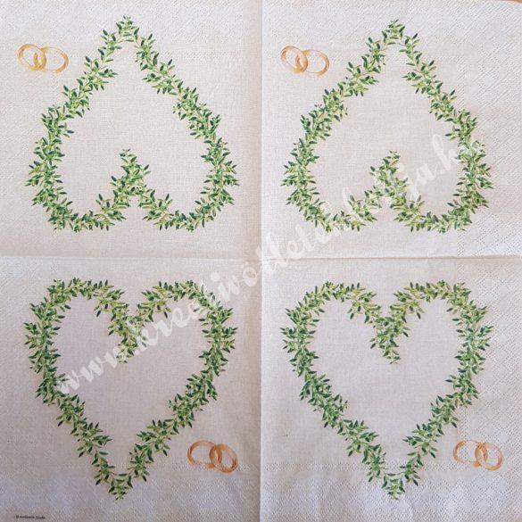 Szalvéta, esküvő, szív, 33x33 cm (19)