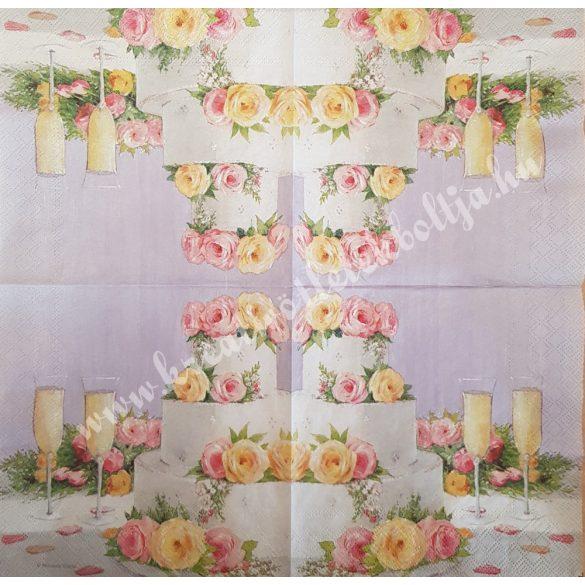 Szalvéta, esküvő, torta, 33x33 cm (24)