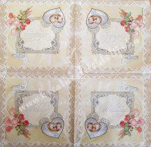 Szalvéta, esküvő, wedding, 32x32 cm, 1 darab
