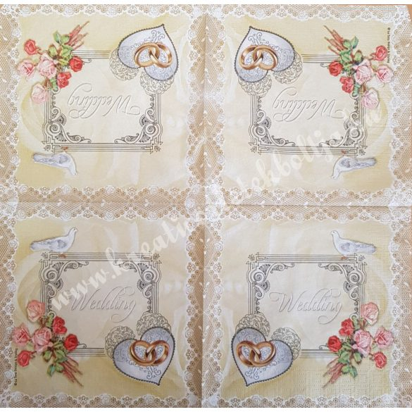Szalvéta, esküvő, wedding, 33x33 cm (26)
