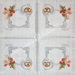 Szalvéta, esküvő 5., 33x33 cm