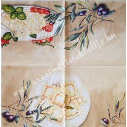 Szalvéta, ételek, tészta, 32x32 cm, 1 darab